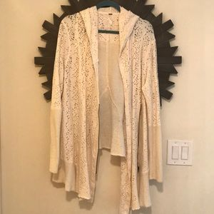 Free people cream jacket with crochet detailing